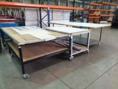 3 X MOBILE WORK/SET OUT BENCHES IN VARIOUS SIZES