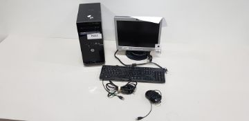 HP PRO 3515 DESKTOP PC WITH HP MONITOR WINDOWS 10 PRO 500GB HARD DRIVE INCLUDES KEYBOARD AND MOUSE