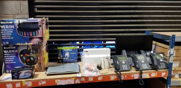MIXED ELECTRONICS LOT CONTAINING 3 X AVAYA OFFICE PHONES, 2 X YEALINK OFFICE PHONES, LINKSYS