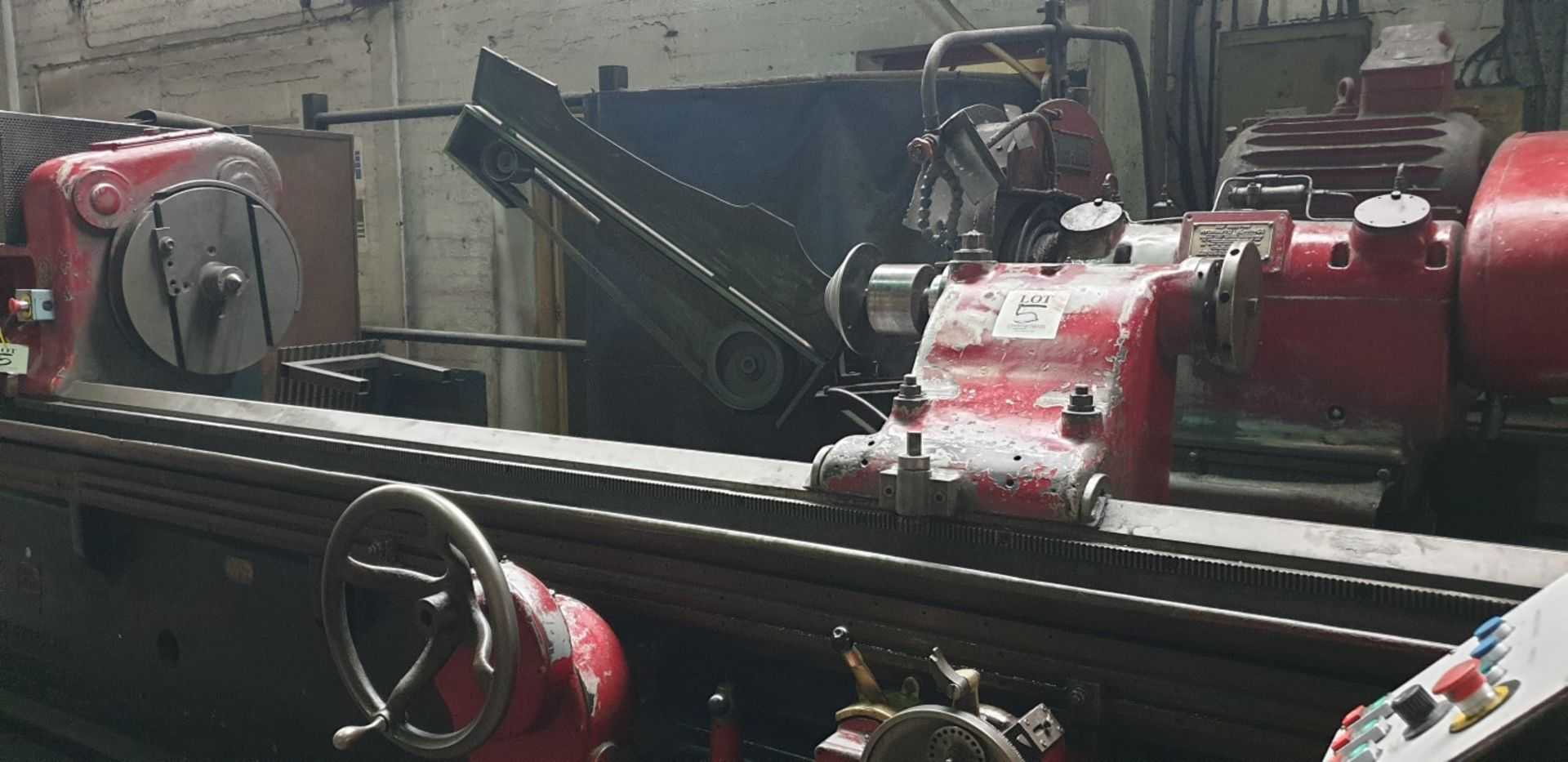"""Lot 5 - Churchill cylindrical grinder, 30"""" swing x 9' centres with linishing attachment, steady and 5 centre"""