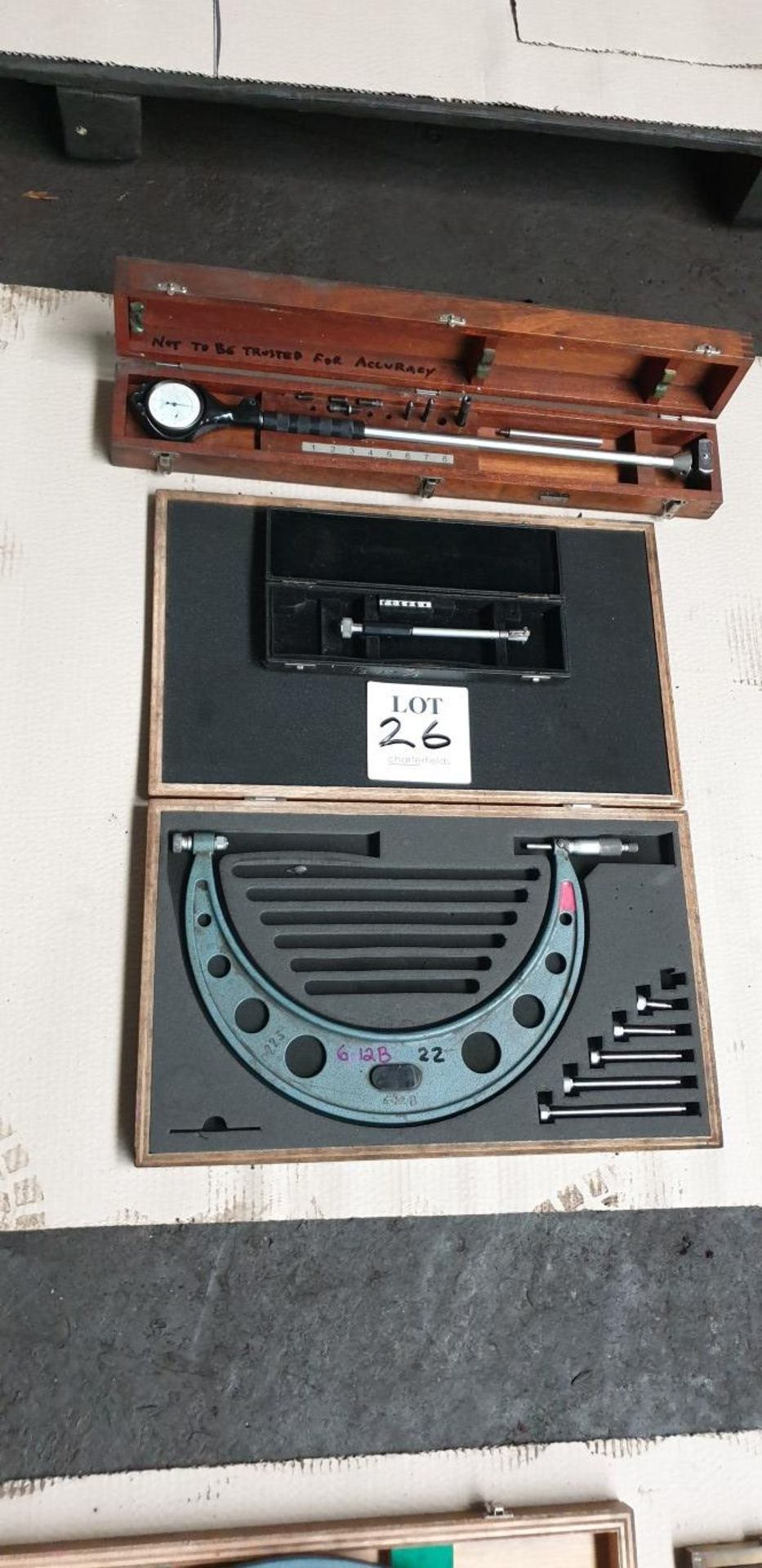 """6 - 12"""" imperial micrometers and 2 bore gauges"""