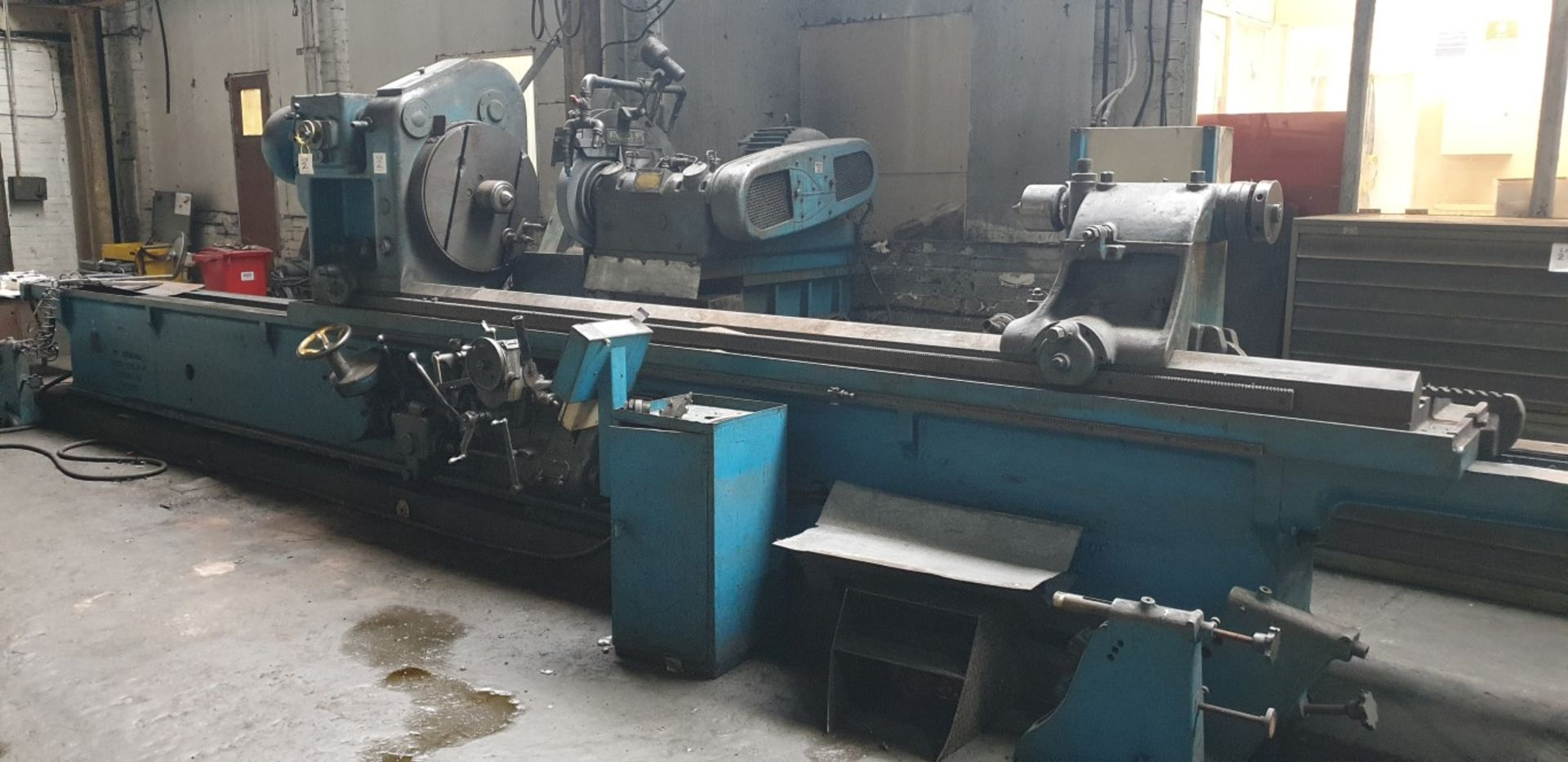 "Lot 2 - Churchill FB cylindrical grinder, 42"" swing x 12' centres with linishing attachment, removable"