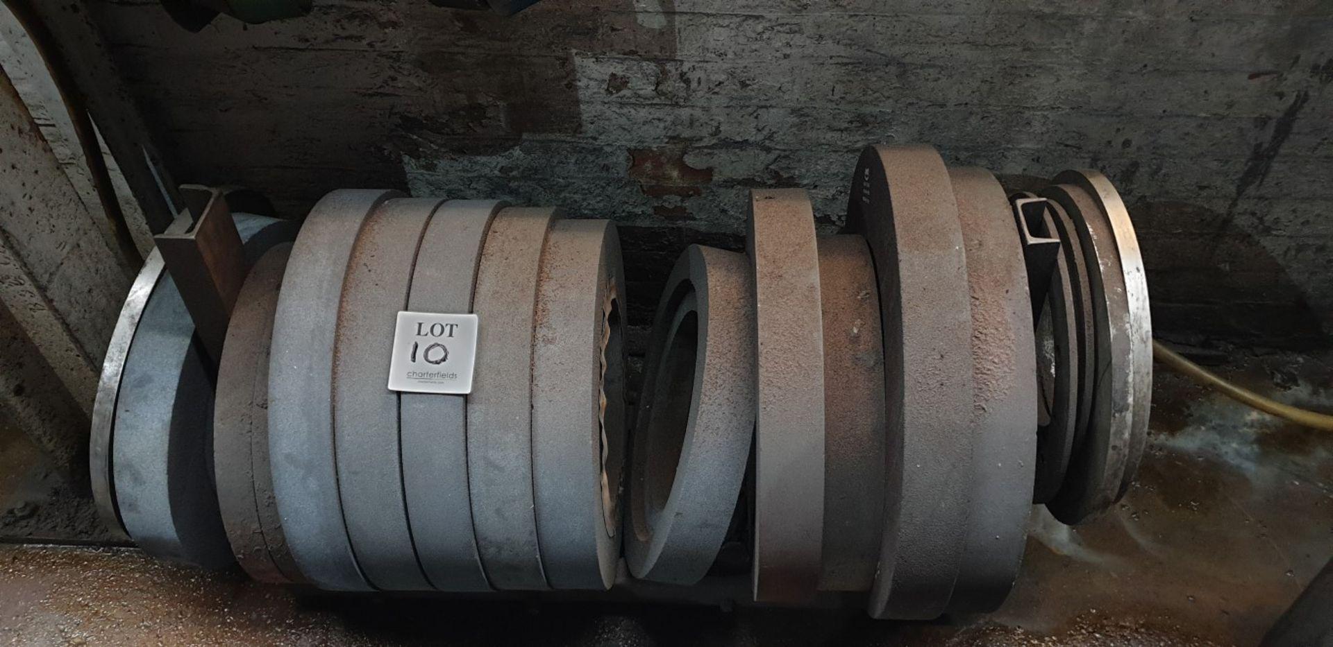 Lot 10 - 14 - large diameter grinding wheels, 305mm bore