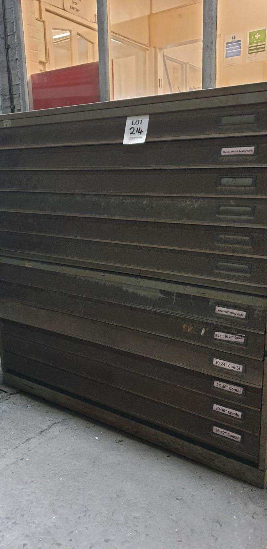 Lot 214 - 12 drawer, deep drawer cabinet