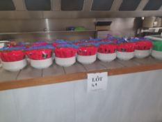 Large quantity of sauce sachets and pots