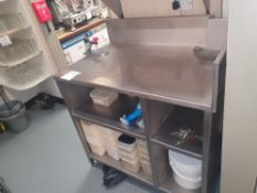 Stainless steel preparation unit with can opener and storage facility