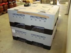 Two Arlington Schoeller Allibert IBC folding one tonne palletised fluid containers