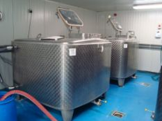 Two 2,000L Moeschle cuboidal fermenting vessels with cooling jackets, Serial numbers 21190 and
