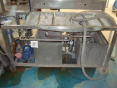 A Johnson Brewery Design twin-head cask washer, with Airline HP2 portable air compressor