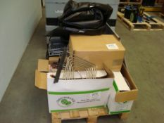A pallet of various portable event beer chilling and dispensing equipment