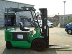 A Mitsubishi FBP30 E18P battery electric counter balance forklift truck Serial number 4302 with