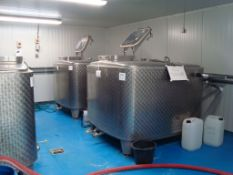 Two 2,000L Moeschle cuboidal fermenting vessels with cooling jackets, Serial numbers 21191 and