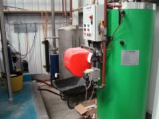 A CFB gas fired steam boiler installation including: 150Kg/Hr gas fired steam boiler (2018) -