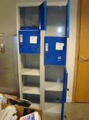 Two steel four drawer filing cabinets, with contents and two four door clothes lockers, as lotted