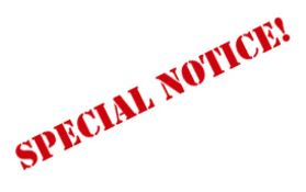 SPECIAL NOTICE: 1) Please see our Terms and Conditions, if you are unable to meet any of the