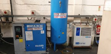 Mark MSA 15kw 8 bar packaged air compressor with MTA dry energy hybrid compressed air dryer, 500L