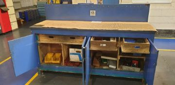 Wooden bench 2000mm x 600mm with steel top