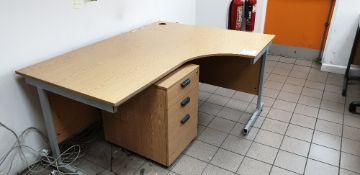Curved desk and three drawer desk pedestal