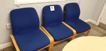 3 - blue fabric wooden framed chairs