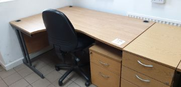 Curved desk with swivel chair and two drawer desk pedestal