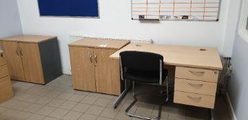 Single pedestal desk, 2 - double door cupboards and sledge chair