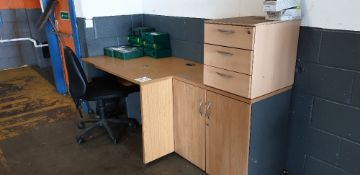 Desk, double door cupboard, three drawer pedestal and swivel chair
