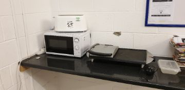Toaster, microwave and a George Foreman grill