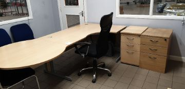 Curved desk with circular return, 2 - three drawer desk pedestals and 2 - chairs