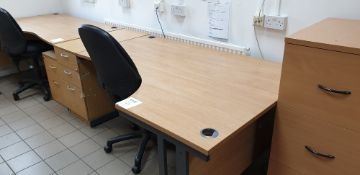 Curved desk with swivel chair and three drawer desk pedestal