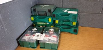 6 - various First Aid boxes and 2 - eye wash kits