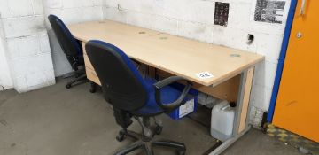Single pedestal desk, table and 2 - chairs