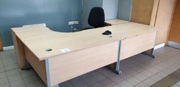 2 - desks, 2 pedestals and swivel chair