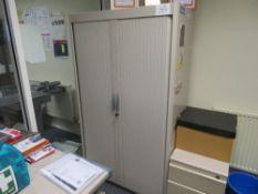 Grey Steel Storage Cupboard c/w Sliding Doors - Contents Not Included