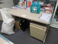 Grey (Pink) & Blue Trim Melamine Desk c/w Pedestal