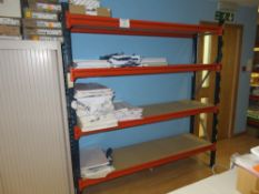 1x Bay of Blue / Orange Boltless Steel Storage Racking - Contents Not Included
