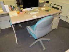 Grey (Pink) & Blue Trim Melamine Desk c/w Pedestal & Swivel Chair