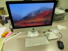 Apple iMac, 21.5 inch, 2.7 GHz Intel Core i5, 1 TB HDD, Memory 8GB RAM, Serial No. C02M8E95F8J2 (