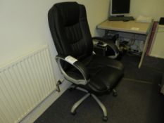 Black Leather Effect Executive Office Swivel Chair