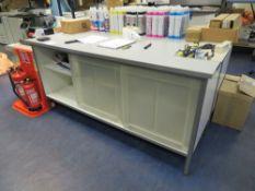 2x Grey Melamine Workbenches c/w Plastic Sliding Doors