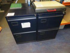 2x Triumph Dark Blue Steel 2 Drawer Filing Cabinets