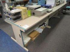 2x Grey (Pink) & Blue Trim Melamine Desks