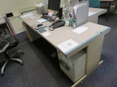 2x Grey (Pink) & Blue Trim Melamine Desks c/w 2x Pedestals