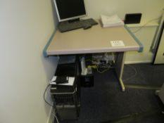 Grey (Pink) & Blue Trim Melamine Desk