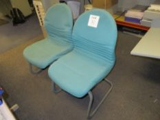 2x Blue Fabric Upholstered Office Chairs