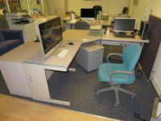 Grey (Pink) & Blue Trim Melamine L-Shape Desk c/w Swivel Chair, Pedestal & 2 Door Desk Height