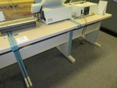 2x Grey (Pink) & Blue Trim Melamine Desks (Short)