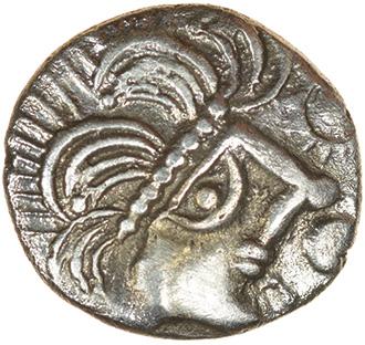 Face Over Horse. c.55-45 BC. Trinovantes. Celtic silver unit. 11mm. 0.93g. - Image 2 of 2