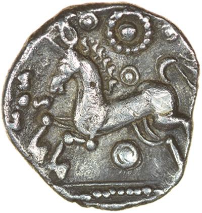 Bury Diadem. Talbot Bury A, dies D/6. c.55-50 BC. Iceni. Celtic silver unit. 14mm. 1.41g. - Image 2 of 2