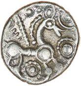 Face Over Horse. c.55-45 BC. Trinovantes. Celtic silver unit. 11mm. 0.93g.