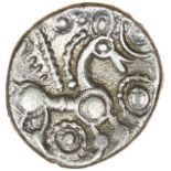Face Over Horse. c.55-45 BC. Trinovantes. Celtic silver unit. 11mm. 0.93g.